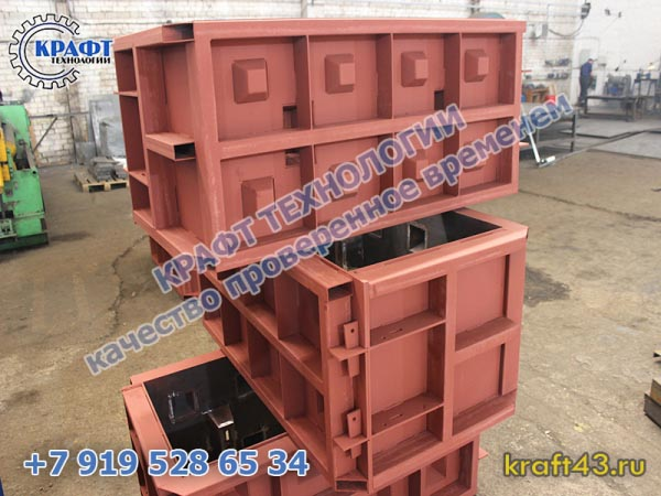Металлоформа бетонный блок Лего 2400х600х600